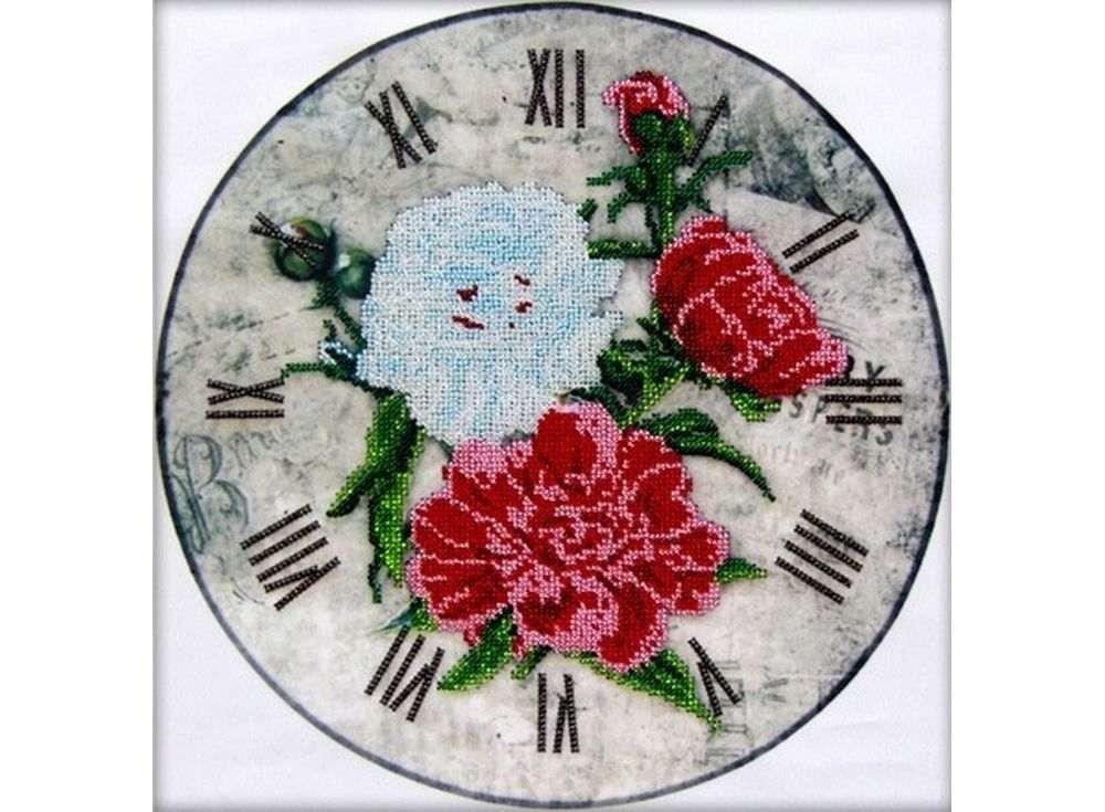 Набор вышивки бисером «Часы-Пионы»Вышивка часов Астрея (Глурия)<br><br><br>Артикул: 68002<br>Основа: габардин<br>Размер: 30x30 см<br>Техника вышивки: бисер<br>Тип схемы вышивки: Цветная схема<br>Количество цветов: 10<br>Заполнение: Частичное<br>Рисунок на канве: нанесён рисунок и схема<br>Техника: Вышивка часов