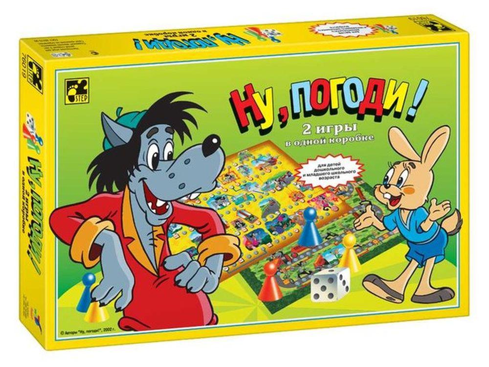 Игра «Ну, погоди!»Настольные развивающие игры<br>2 настольные игры-бродилки с фишками и кубиком в одной коробке. Игра позволяет в игровой увлекательной форме развивать у детей навыки общения, командный дух (при игре двумя командами), приучает к выполнению установленных правил. Для детей дошкольного и мл...<br><br>Артикул: 76019<br>Размер упаковки: 37,5x25x4,5 см<br>Возраст: от 5 лет<br>Время игры: от 15 мин.<br>Количество игроков: 2+<br>Аудитория: Детские