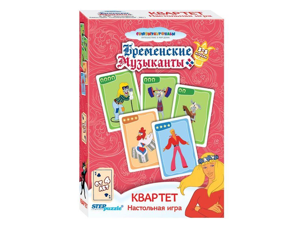 """Настольная игра «Квартет»Настольные развивающие игры<br>Настольная игра """"Квартет""""- для победы соберите наибольшее количество квартетов, обмениваясь картами с другими игроками.<br> <br> Для кого игра?<br> Игра понравится детям от 4-х лет. Игра способствует развитию внимания, памяти, коммуникативных навыков.<br><br> Как и...<br><br>Артикул: 76052<br>Размер упаковки: 9,5х6х1,5 см<br>Возраст: от 3 лет<br>Время игры: от 15 мин.<br>Количество игроков: 3+<br>Аудитория: Детские"""