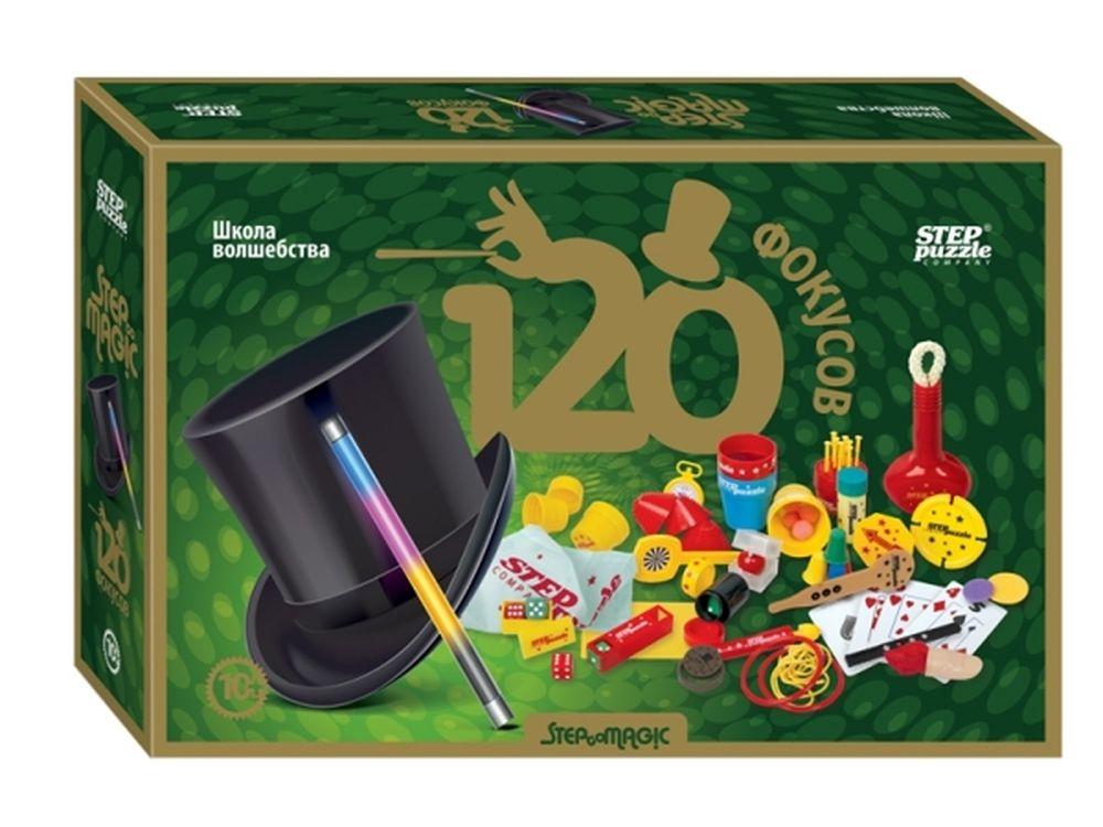 Игра «120 фокусов»Наборы для фокусов<br>Игра содержит в себе секреты 120 самых загадочных фокусов.<br> <br> Для кого игра?<br> для юных иллюзионистов от 10 лет (в наборе есть все, чтобы показывать фокусы: необходимый реквизит, подробная пошаговая инструкция с иллюстрациями и секреты самых загадочных ...<br><br>Артикул: 76097<br>Размер упаковки: 40x27x9 см<br>Возраст: от 10 лет<br>Количество игроков: 1+<br>Аудитория: Детские