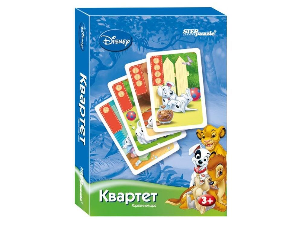 Настольная игра «Зверята Дисней. Квартет»Настольные развивающие игры<br>Настольная игра Зверята Дисней. Квартет (Disney) – для победы соберите наибольшее количество квартетов, обмениваясь картами с другими игроками.<br> <br> Что полезного в игре?<br> Игра способствует развитию внимания, памяти, когнитивных навыков.<br> <br> Как играт...<br><br>Артикул: 76216<br>Размер упаковки: 9,5x6x1,5 см<br>Возраст: от 3 лет<br>Время игры: 10-30 мин.<br>Количество игроков: 3+<br>Аудитория: Детские