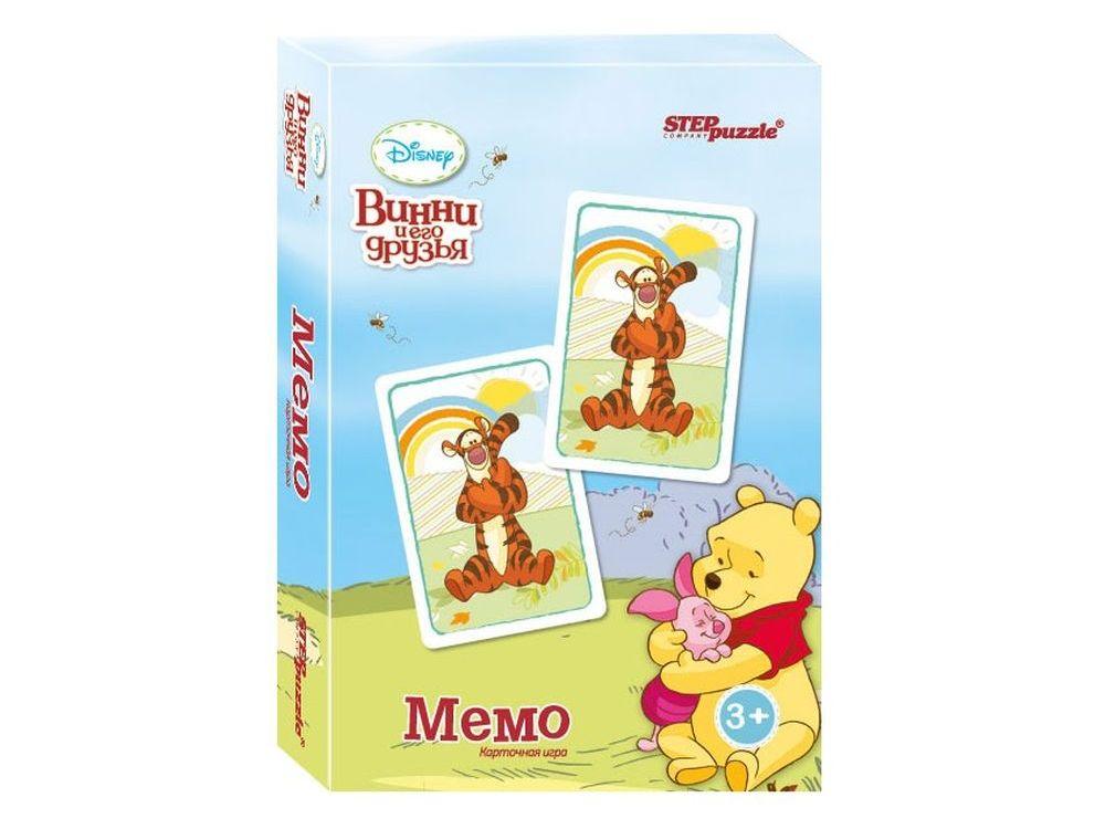 Настольная игра «Медвежонок Винни. Мемо»Настольные развивающие игры<br>Настольная игра Медвежонок Винни. Мемо (Disney) – разложите карты на стол картинками вниз. Открывая по две карты, соберите как можно больше пар персонажей из любимого мультфильма.<br> <br> Что полезного в игре?<br> Игра способствует развитию внимания, памяти...<br><br>Артикул: 76220<br>Размер упаковки: 9,5x6x1,5 см<br>Возраст: от 3 лет<br>Время игры: 10-30 мин.<br>Количество игроков: 2+<br>Аудитория: Детские