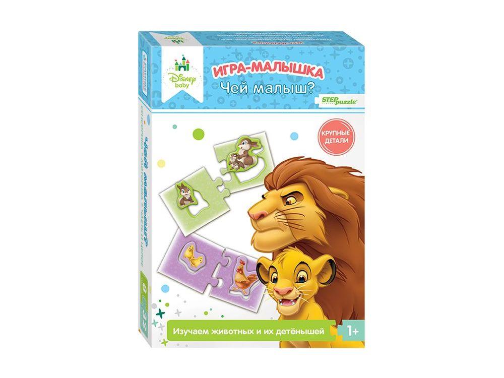 Игра-малышка «Чей малыш?»Настольные развивающие игры<br>Развивающая игра-малышка «Чей малыш?» знакомит ребенка с животными и их детенышами, учит объединять их в семьи. Развивает внимание, наблюдательность, мышление, координацию, зрительную и двигательную память - мелкую моторику рук.<br> <br> Что полезного в игре?...<br><br>Артикул: 76229<br>Размер упаковки: 19,5x13,7x3,5 см<br>Возраст: от 1 года<br>Время игры: 10-30 мин.<br>Количество игроков: 1+<br>Аудитория: Детские