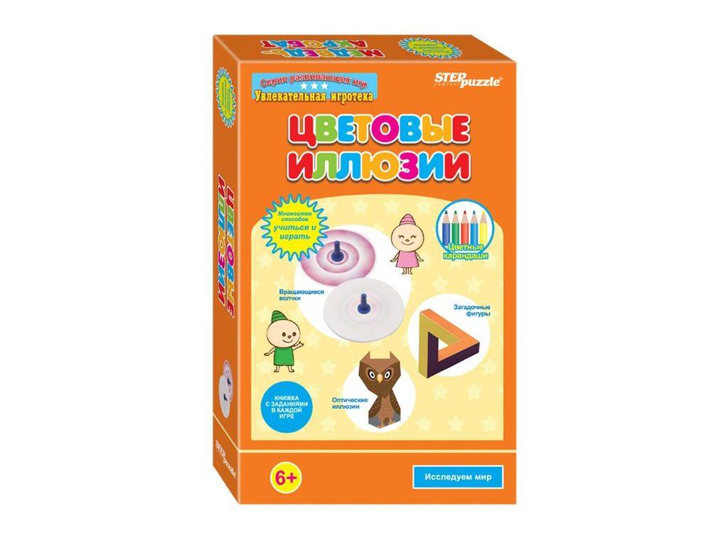 Развивающая игра «Цветовые иллюзии»Наборы для опытов и экспериментов<br>Развивающая игра «Цветовые иллюзии» — это игра-моделирование. Игра разработана для всестороннего развития детей и закрепления положительного результата от полученных знаний. Дети смогут самостоятельно решать задачи, потому что игра «Цветовые иллюзии» сама...<br><br>Артикул: 76524<br>Размер упаковки: 14x22x4 см<br>Возраст: от 6 лет<br>Время игры: 10-30 мин.<br>Количество игроков: 1+<br>Аудитория: Детские