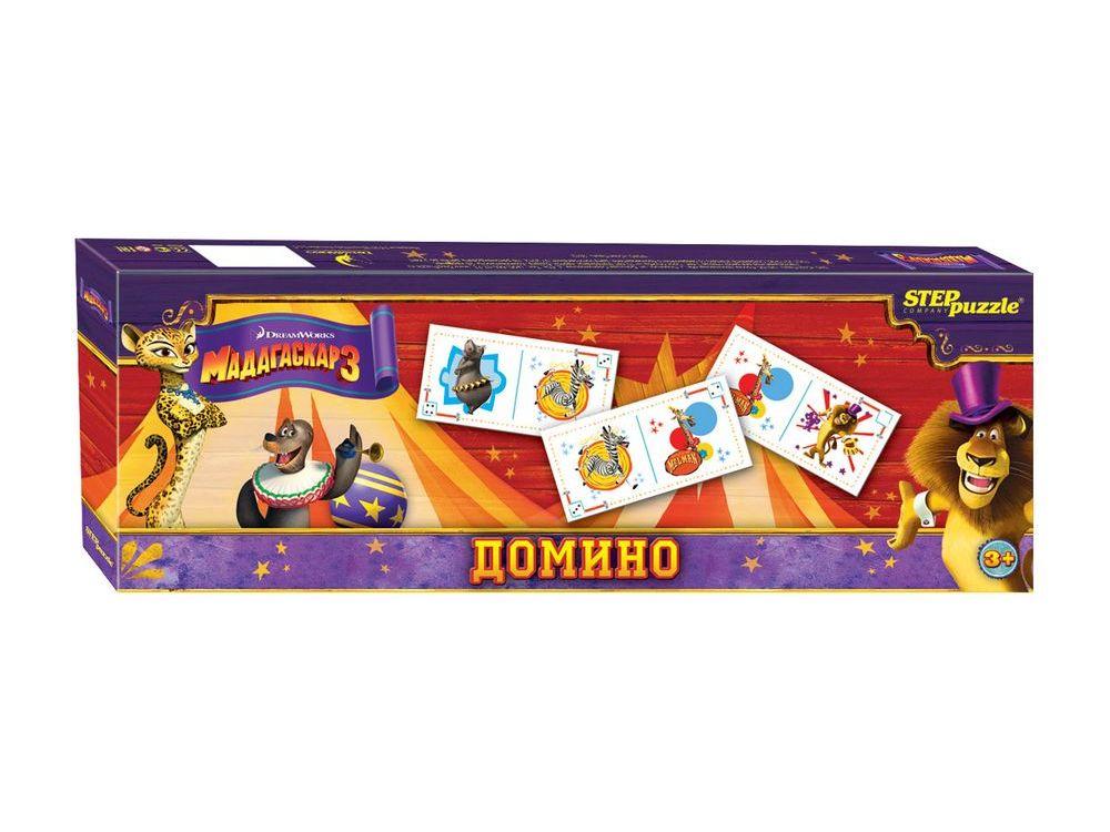 Домино «Мадагаскар 3»Настольные классические игры<br>Домино - классическая игра, ведущая свою историю от начала 12 века. Развивает внимание, наблюдательность, логическое мышление.<br><br>Артикул: 80110<br>Размер упаковки: 36x12,5x35 см<br>Возраст: от 3 лет<br>Время игры: 10-30 мин.<br>Количество игроков: 2+<br>Аудитория: Детские
