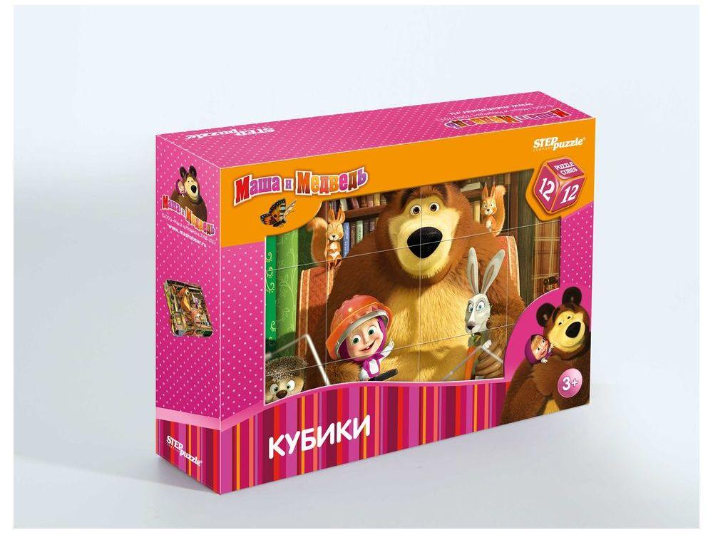 12 кубиков «Маша и Медведь»Настольные развивающие игры<br>С помощью кубиков Step Puzzle Маша и Медведь ребенок сможет собрать шесть красочных картинок с любимыми мультипликационными героями. Наборы из 12 кубиков - для тех детишек, которые освоили навык сборки картинки из 9 кубиков. Заложенный дидактический при...<br><br>Артикул: 87134<br>Размер упаковки: 16x12x4 см<br>Возраст: от 3 лет<br>Время игры: 10-30 мин.<br>Количество игроков: 1+<br>Аудитория: Детские