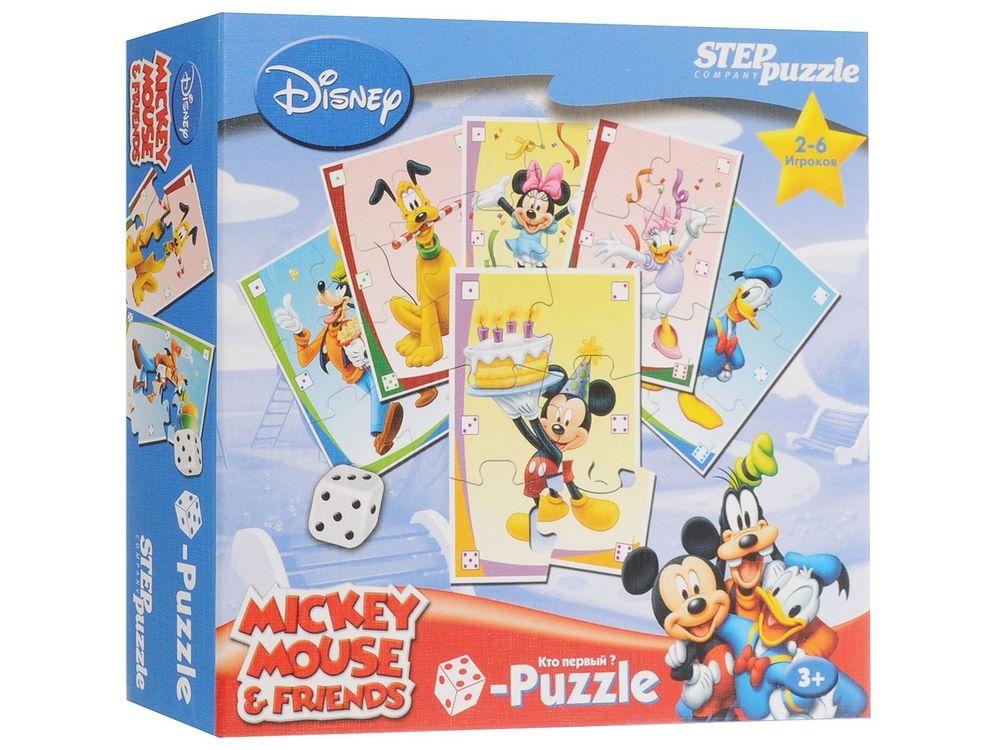 Пазл-игра «Микки Маус с карточками мемо»Настольные развивающие игры<br>Весёлая азартная игра, в которой выигрывает тот, кто первым соберёт свой пазл, но не просто соберёт, а при помощи кубика (игральной кости).<br><br>Артикул: 87201<br>Размер упаковки: 20x20x5 см<br>Возраст: от 3 лет<br>Время игры: 10-20 мин.<br>Количество игроков: 2+<br>Аудитория: Детские