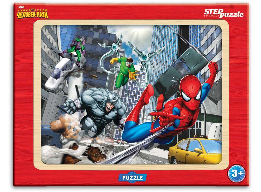 Пазл из дерева «Человек-паук»Пазлы от производителя Step Puzzle<br><br><br>Артикул: 89127<br>Размер: 26x19 см<br>Размер упаковки: 36x27x2 см<br>Возраст: от 3 лет