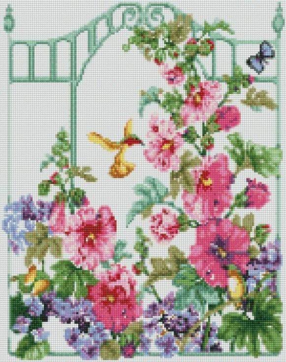 Стразы «Колибри в саду»Цветной<br><br><br>Артикул: A022<br>Основа: Холст на подрамнике<br>Сложность: сложные<br>Размер: 40x50 см<br>Выкладка: Полная<br>Количество цветов: 20-35<br>Тип страз: Круглые непрозрачные (акриловые)
