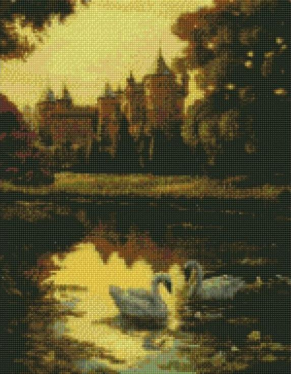 Стразы «Лебеди у замка»Цветной<br><br><br>Артикул: A027<br>Основа: Холст на подрамнике<br>Сложность: сложные<br>Размер: 40x50 см<br>Выкладка: Полная<br>Количество цветов: 20-35<br>Тип страз: Круглые непрозрачные (акриловые)
