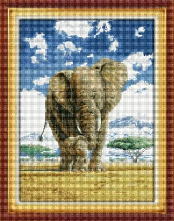 Стразы «Слониха со слоненком»Цветной<br><br><br>Артикул: A059<br>Основа: Холст на подрамнике<br>Сложность: сложные<br>Размер: 40x50 см<br>Выкладка: Полная<br>Количество цветов: 20-35<br>Тип страз: Круглые непрозрачные (акриловые)