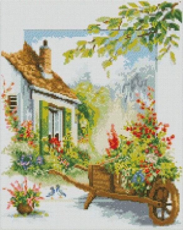 Стразы «Домик садовника»Цветной<br><br><br>Артикул: A110<br>Основа: Холст на подрамнике<br>Сложность: сложные<br>Размер: 40x50 см<br>Выкладка: Полная<br>Количество цветов: 20-35<br>Тип страз: Круглые непрозрачные (акриловые)