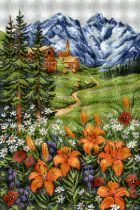 Стразы «Альпийский пейзаж»Цветной<br><br><br>Артикул: A113<br>Основа: Холст на подрамнике<br>Сложность: сложные<br>Размер: 40x50 см<br>Выкладка: Полная<br>Количество цветов: 20-35<br>Тип страз: Круглые непрозрачные (акриловые)