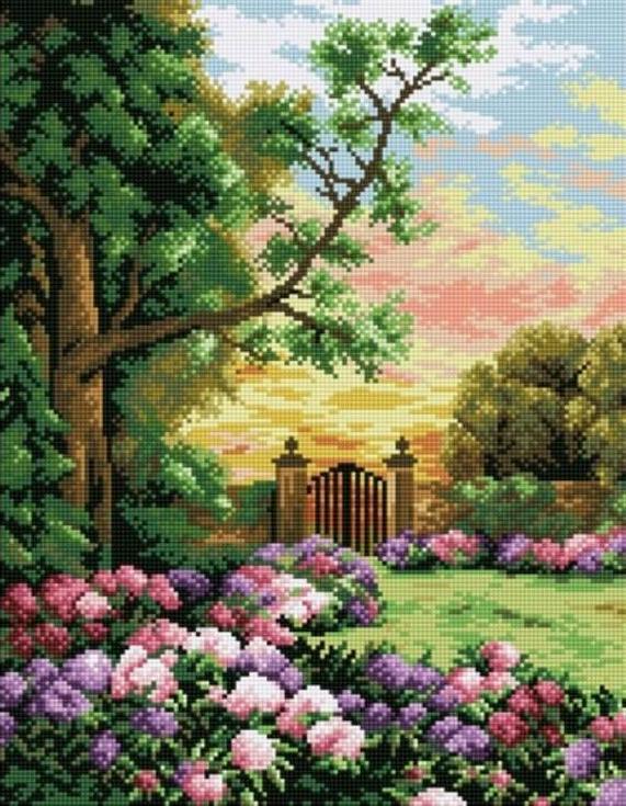 Алмазная вышивка «Сад цветов»Цветной<br><br><br>Артикул: A122<br>Основа: Холст на подрамнике<br>Сложность: сложные<br>Размер: 40x50 см<br>Выкладка: Полная<br>Количество цветов: 20-35<br>Тип страз: Круглые непрозрачные (акриловые)