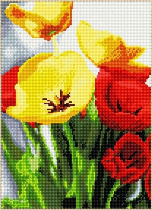 Стразы «Красные и желтые маки»Цветной<br><br><br>Артикул: A617<br>Основа: Холст на подрамнике<br>Сложность: сложные<br>Размер: 40x50 см<br>Выкладка: Полная<br>Количество цветов: 20-35<br>Тип страз: Круглые непрозрачные (акриловые)