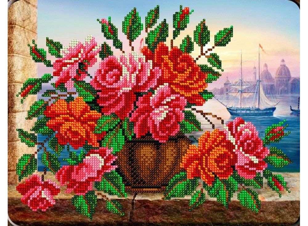 Набор вышивки бисером «Розы в вазе»Вышивка бисером Вышиваем бисером<br><br><br>Артикул: В-123<br>Основа: ткань<br>Размер: 19x24,5 см<br>Техника вышивки: бисер<br>Тип схемы вышивки: Цветная схема<br>Заполнение: Частичное<br>Рисунок на канве: нанесена схема<br>Техника: Вышивка бисером