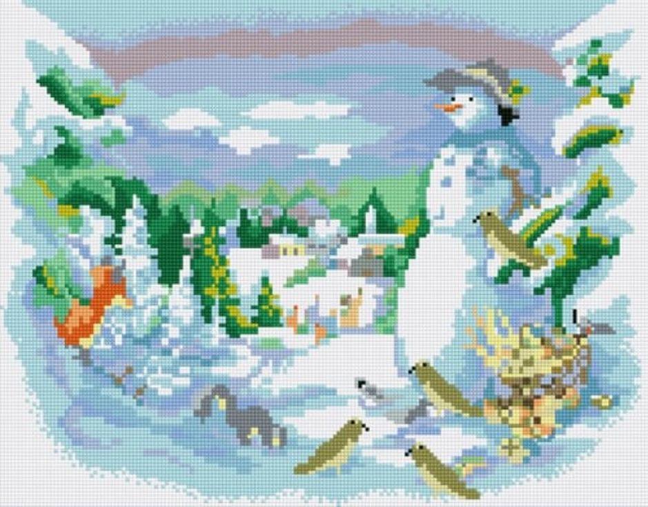 Стразы «Друзья снеговика»Цветной<br><br><br>Артикул: B046<br>Основа: Холст на подрамнике<br>Сложность: сложные<br>Размер: 40x50 см<br>Выкладка: Полная<br>Количество цветов: 20-35<br>Тип страз: Круглые непрозрачные (акриловые)