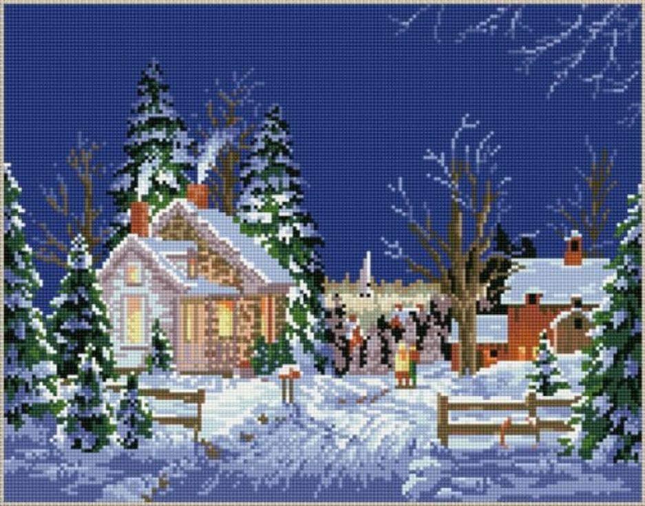 Стразы «Зимний вечер»Цветной<br><br><br>Артикул: B051<br>Основа: Холст на подрамнике<br>Сложность: сложные<br>Размер: 40x50 см<br>Выкладка: Полная<br>Количество цветов: 20-35<br>Тип страз: Круглые непрозрачные (акриловые)