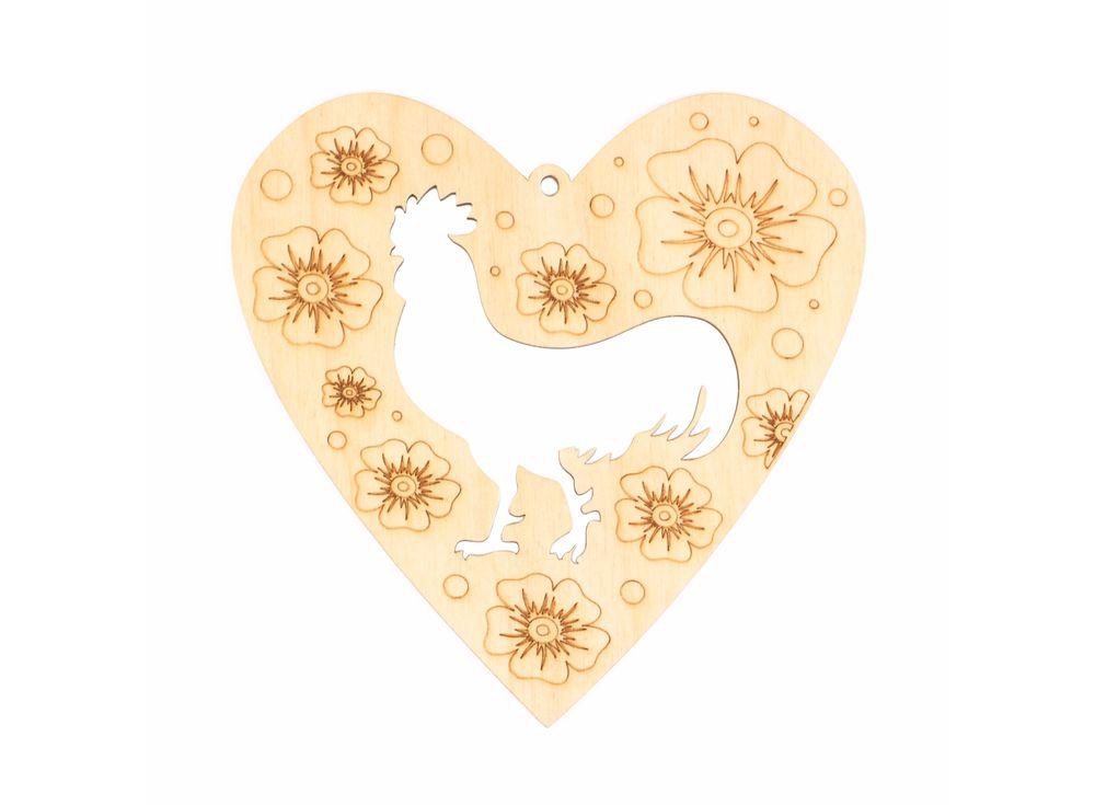 Подвеска-сердце «Силуэт петуха в цветах»Декоративные подвески<br><br><br>Артикул: DZ10054<br>Основа: фанера<br>Размер: 126x130/толщина 3 мм<br>Упаковка: пакет