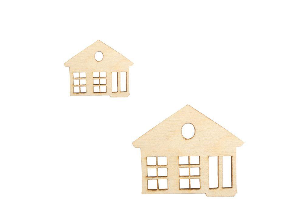 Набор декоративных лементов «Домики»Наборы деревнных заготовок<br><br><br>Артикул: DZ40023<br>Основа: фанера<br>Размер: 20x20, 35x40/толщина 3 мм<br>Упаковка: пакет