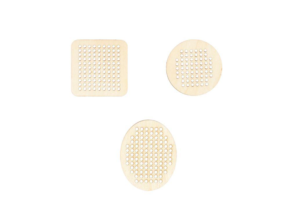 Мини-набор перфорированных форм для вышиванияАксессуары для вышивки<br><br><br>Артикул: DZ40068<br>Основа: фанера<br>Размер см: 3 фигурки: 40x40 мм, 1 фигурка: 35x50 мм