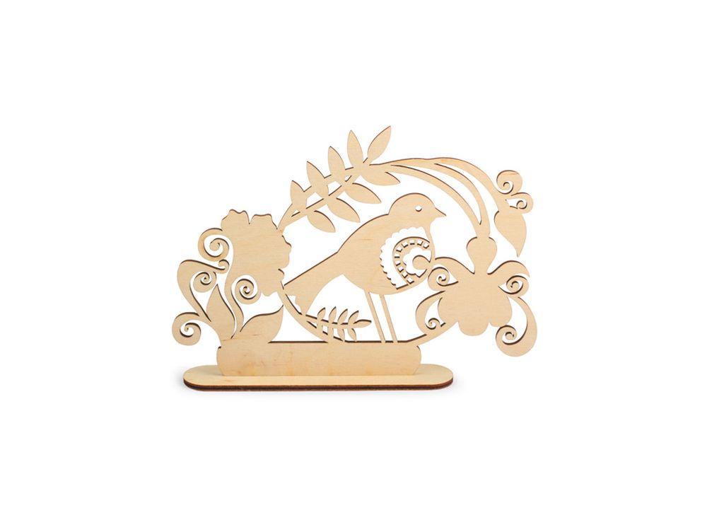 Декоративная форма на подставке «Птица в саду»Формы для декора на подставке<br><br><br>Артикул: DZ50021<br>Основа: фанера<br>Размер: 187x133/толщина 3 мм<br>Упаковка: пакет