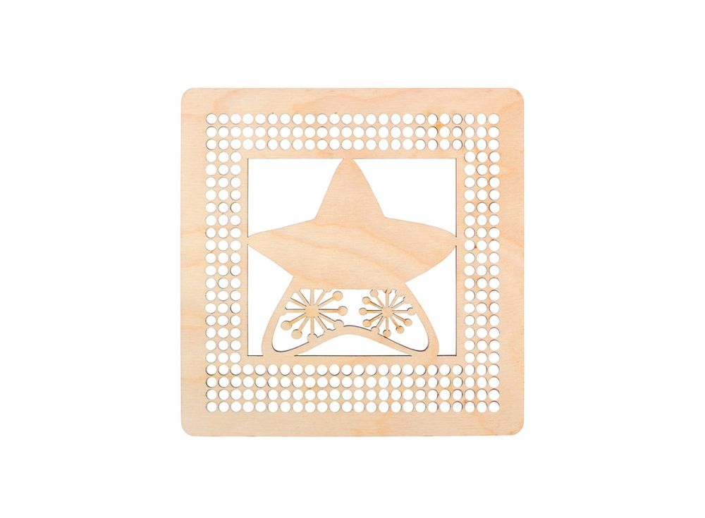 Панно со звездочкой для декора ниткамиДекоративные плитки<br><br><br>Артикул: DZ70054<br>Основа: фанера<br>Размер см: 170x170/толщина 3 мм