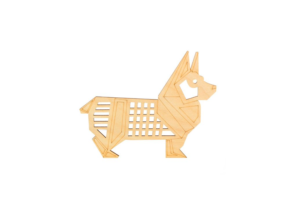 Форма для декора «Оригами-корги»Формы для декора<br><br><br>Артикул: DZ80011<br>Основа: фанера<br>Размер: 70x56/толщина 3 мм<br>Упаковка: пакет