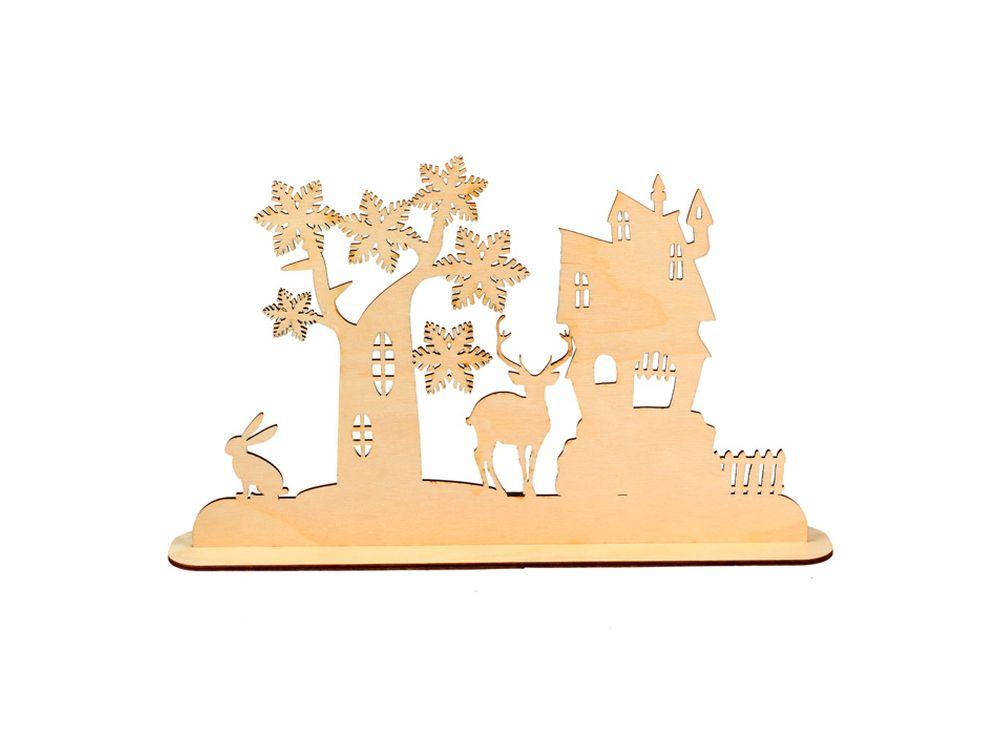 Декоративная форма на подставке «В сказке»Формы для декора на подставке<br><br><br>Артикул: DZ90032<br>Основа: фанера<br>Размер: 340x205/толщина 3 мм<br>Упаковка: пакет
