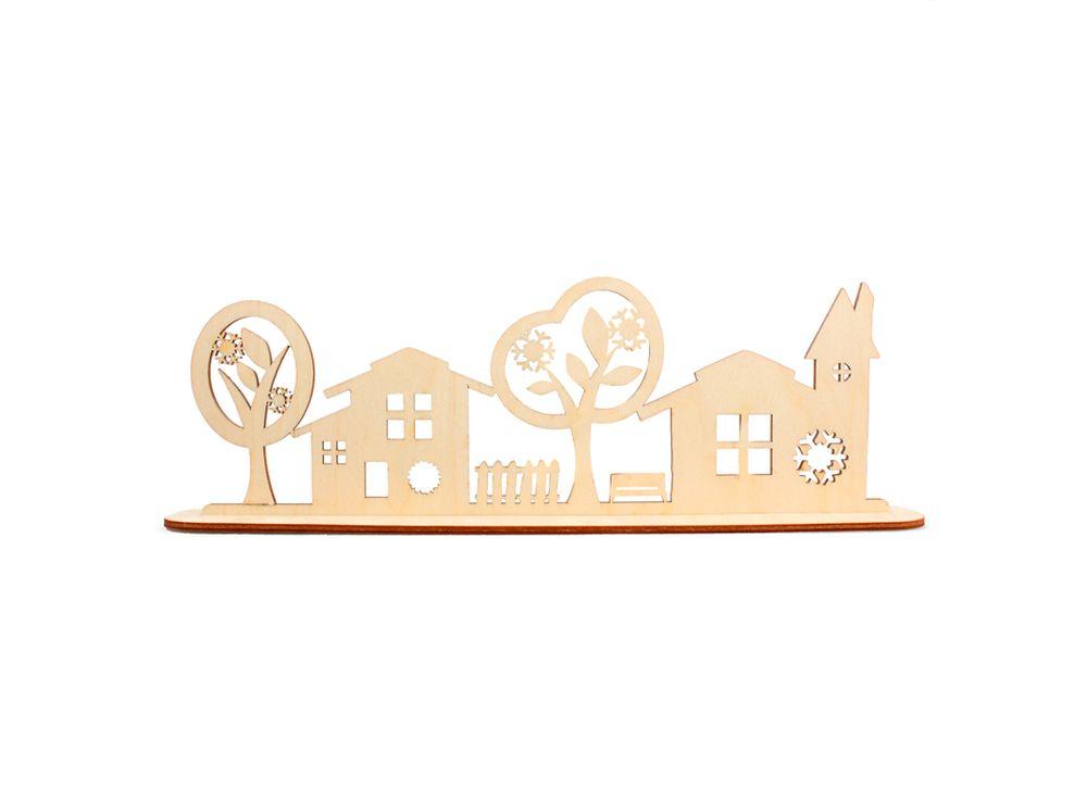 Декоративная форма на подставке «Улица»Формы для декора на подставке<br><br><br>Артикул: DZ90037<br>Основа: фанера<br>Размер: 298x97/толщина 3 мм<br>Упаковка: пакет