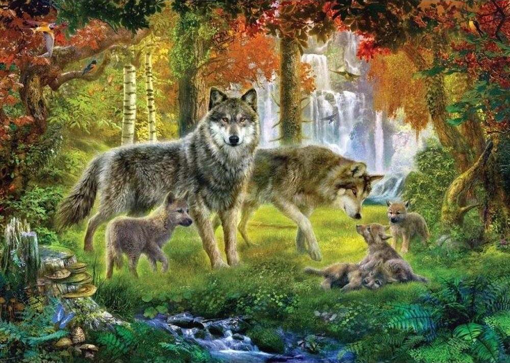 «Волчья семья»Paintboy (Premium)<br><br><br>Артикул: GX3897<br>Основа: Холст<br>Сложность: сложные<br>Размер: 40x50 см<br>Количество цветов: 25<br>Техника рисования: Без смешивания красок