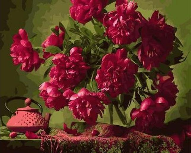 «Букет бордовых пионов»Paintboy (Premium)<br><br><br>Артикул: GX4102<br>Основа: Холст<br>Сложность: сложные<br>Размер: 40x50 см<br>Количество цветов: 25<br>Техника рисования: Без смешивания красок