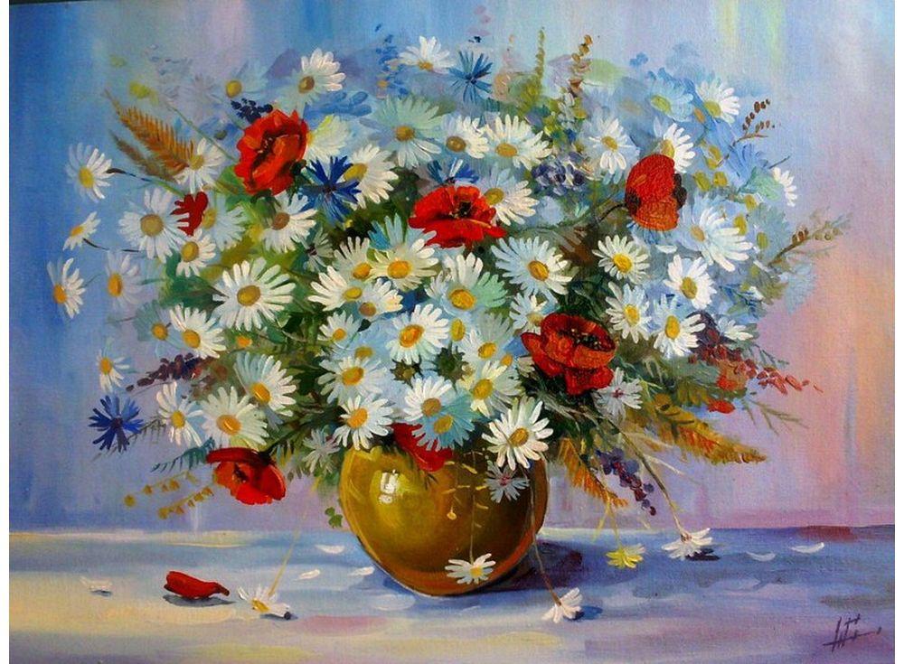 Картина по номерам «Маки и ромашки»Paintboy (Premium)<br><br><br>Артикул: GX4103<br>Основа: Холст<br>Сложность: сложные<br>Размер: 40x50 см<br>Количество цветов: 25<br>Техника рисования: Без смешивания красок
