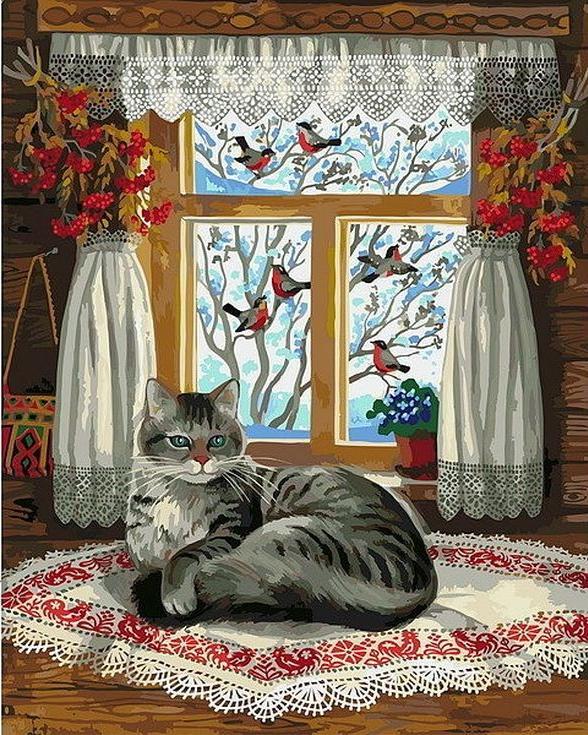 «Зима за окном»Paintboy (Premium)<br><br><br>Артикул: GX4122<br>Основа: Холст<br>Сложность: сложные<br>Размер: 40x50 см<br>Количество цветов: 25<br>Техника рисования: Без смешивания красок