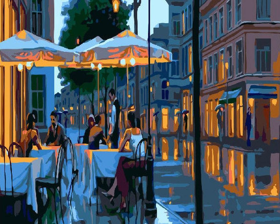 «Уличное кафе вечером»Paintboy (Premium)<br><br><br>Артикул: GX4172<br>Основа: Холст<br>Сложность: средние<br>Размер: 40x50 см<br>Количество цветов: 22<br>Техника рисования: Без смешивания красок