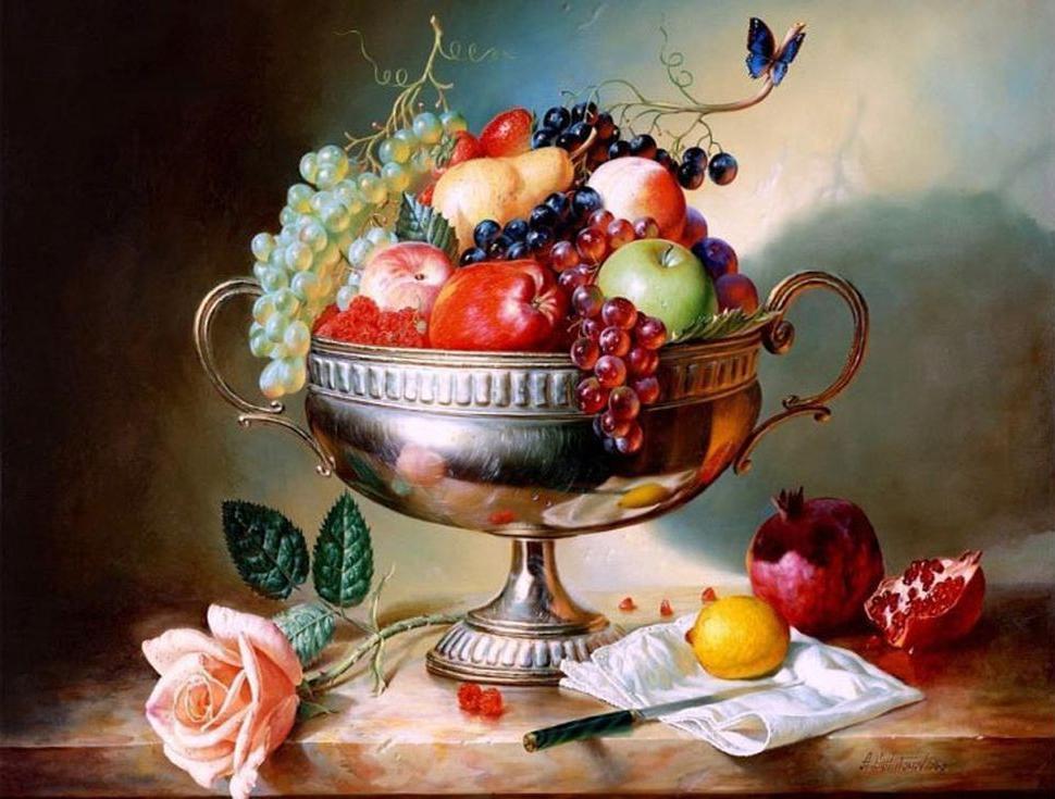 «Ваза с фруктами» Алексея АнтоноваPaintboy (Premium)<br><br><br>Артикул: GX4244<br>Основа: Холст<br>Сложность: сложные<br>Размер: 40x50 см<br>Количество цветов: 25<br>Техника рисования: Без смешивания красок