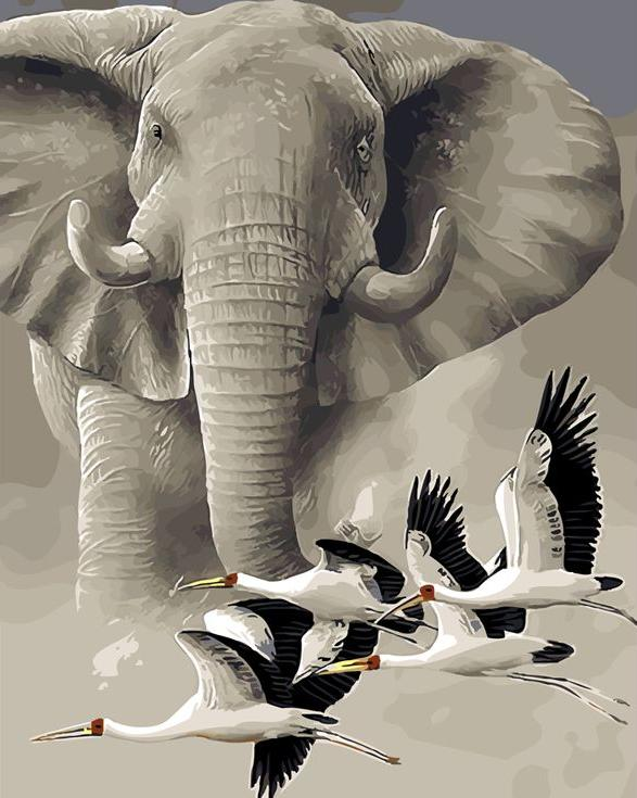 «Слон и журавли» Jan WeeninkPaintboy (Premium)<br><br><br>Артикул: GX4333<br>Основа: Холст<br>Сложность: сложные<br>Размер: 40x50 см<br>Количество цветов: 25<br>Техника рисования: Без смешивания красок