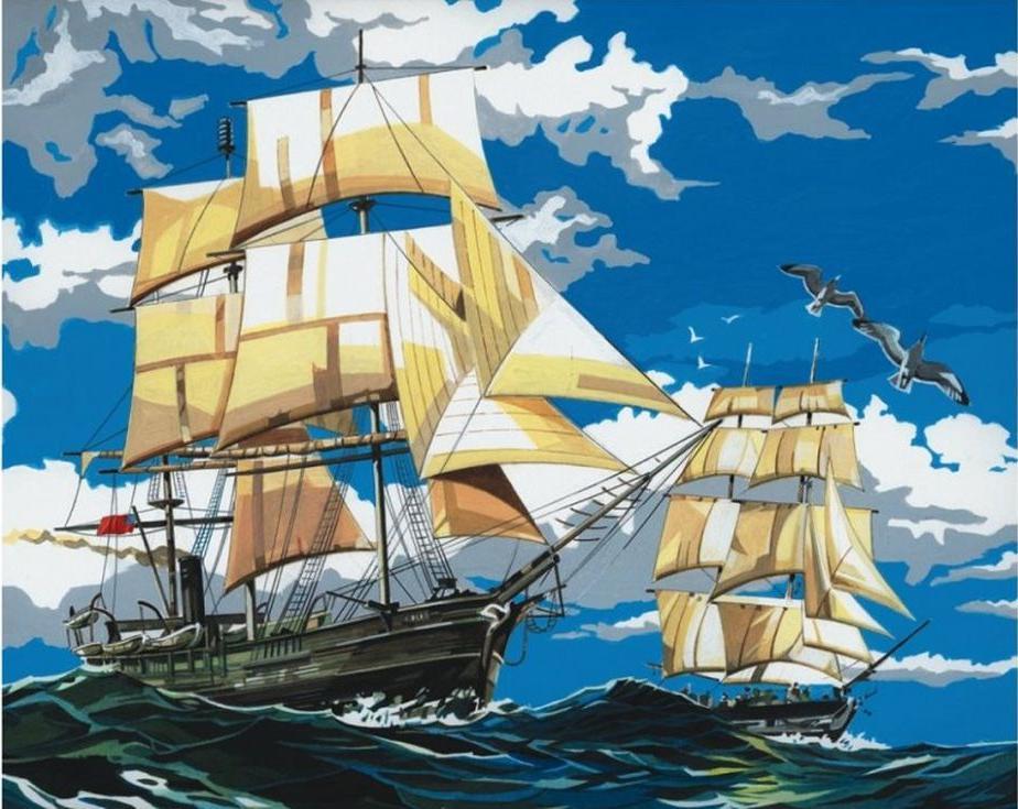 Картина по номерам «Корабли в море»Paintboy (Premium)<br><br><br>Артикул: GX4391<br>Основа: Холст<br>Сложность: сложные<br>Размер: 40x50 см<br>Количество цветов: 25<br>Техника рисования: Без смешивания красок