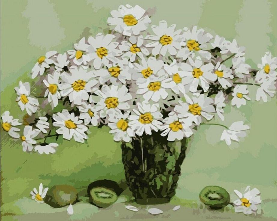 Картина по номерам «Белые ромашки»Paintboy (Premium)<br><br><br>Артикул: GX8035<br>Основа: Холст<br>Сложность: сложные<br>Размер: 40x50 см<br>Количество цветов: 25<br>Техника рисования: Без смешивания красок