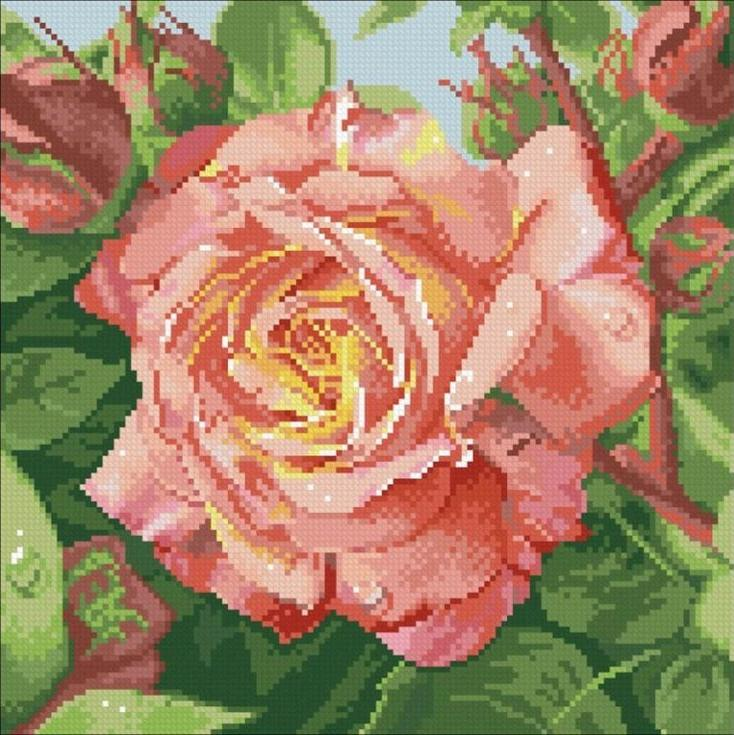Стразы «Чайная роза»Алмазная вышивка Паутинка<br><br><br>Артикул: М-208<br>Основа: Холст без подрамника<br>Сложность: средние<br>Размер: 30x30 см<br>Выкладка: Полная<br>Количество цветов: 26<br>Тип страз: Квадратные