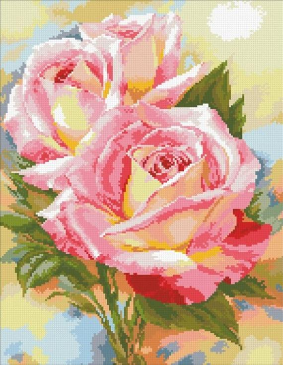 Стразы «Нежные розы»Алмазная вышивка Паутинка<br><br><br>Артикул: М-227<br>Основа: Холст без подрамника<br>Сложность: сложные<br>Размер: 35x45 см<br>Выкладка: Полная<br>Количество цветов: 32<br>Тип страз: Квадратные