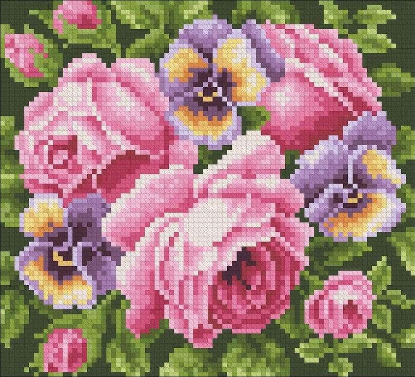 Стразы «Розы и анютины глазки»Алмазная вышивка Паутинка<br><br><br>Артикул: М-233<br>Основа: Холст без подрамника<br>Сложность: средние<br>Размер: 20x18 см<br>Выкладка: Полная<br>Количество цветов: 21<br>Тип страз: Квадратные