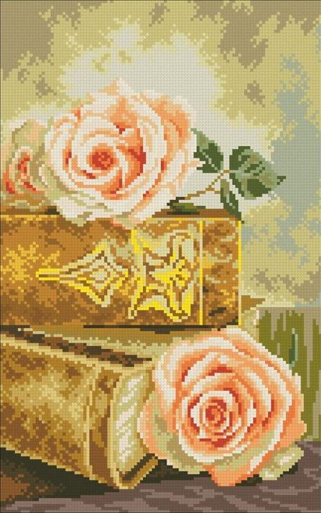 Стразы «Книги и розы»Алмазная вышивка Паутинка<br><br><br>Артикул: М-235<br>Основа: Холст без подрамника<br>Сложность: средние<br>Размер: 25x40 см<br>Выкладка: Полная<br>Количество цветов: 30<br>Тип страз: Квадратные