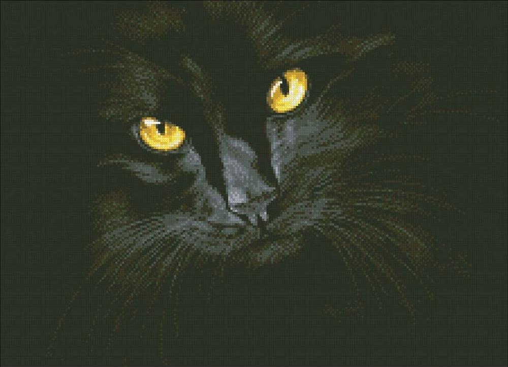 Алмазная вышивка «Черная кошка»Алмазная вышивка Паутинка<br><br><br>Артикул: М-301<br>Основа: Холст без подрамника<br>Сложность: сложные<br>Размер: 52x38 см<br>Выкладка: Полная<br>Количество цветов: 15<br>Тип страз: Квадратные