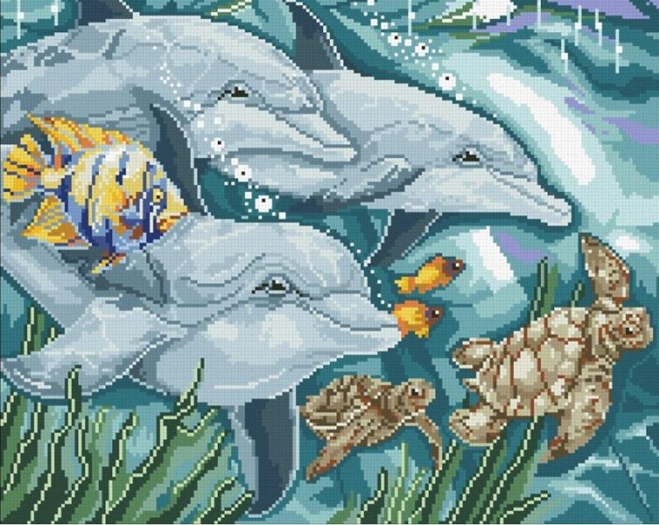 Стразы «Дельфины»Алмазная вышивка Паутинка<br><br><br>Артикул: М-310<br>Основа: Холст без подрамника<br>Сложность: сложные<br>Размер: 45x36 см<br>Выкладка: Полная<br>Количество цветов: 34<br>Тип страз: Квадратные