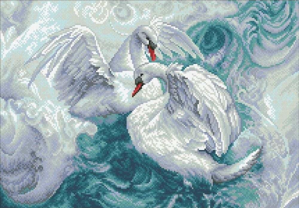 Стразы «Лебеди»Алмазная вышивка Паутинка<br><br><br>Артикул: М-311<br>Основа: Холст без подрамника<br>Сложность: сложные<br>Размер: 50x35 см<br>Выкладка: Полная<br>Количество цветов: 18<br>Тип страз: Квадратные