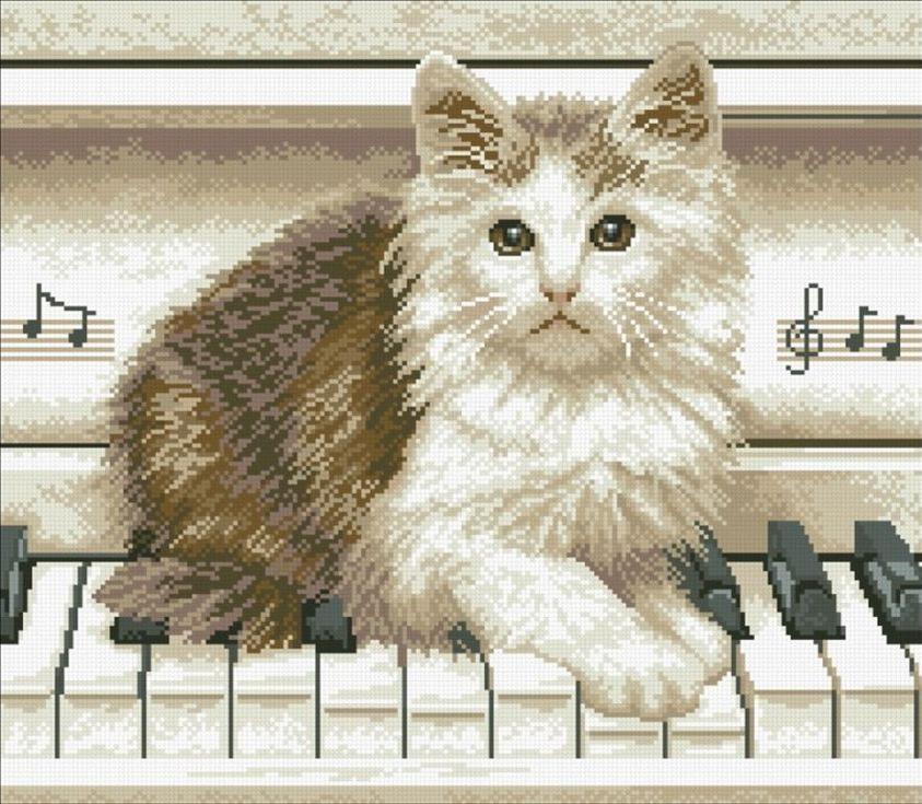 Стразы «Котёнок на пианино»Алмазная вышивка Паутинка<br><br><br>Артикул: М-331<br>Основа: Холст без подрамника<br>Сложность: сложные<br>Размер: 47x41 см<br>Выкладка: Полная<br>Количество цветов: 14<br>Тип страз: Квадратные