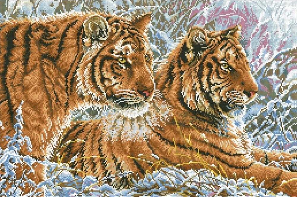 Алмазная вышивка «Пара тигров»Алмазная вышивка Паутинка<br><br><br>Артикул: М-339<br>Основа: Холст без подрамника<br>Сложность: очень сложные<br>Размер: 60x40 см<br>Выкладка: Полная<br>Количество цветов: 32<br>Тип страз: Квадратные