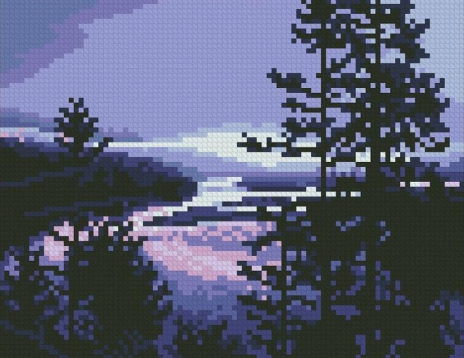 Стразы «Фиолетовый вечер»Алмазная вышивка Паутинка<br><br><br>Артикул: М-403<br>Основа: Холст без подрамника<br>Сложность: средние<br>Размер: 22x17 см<br>Выкладка: Полная<br>Количество цветов: 11<br>Тип страз: Квадратные
