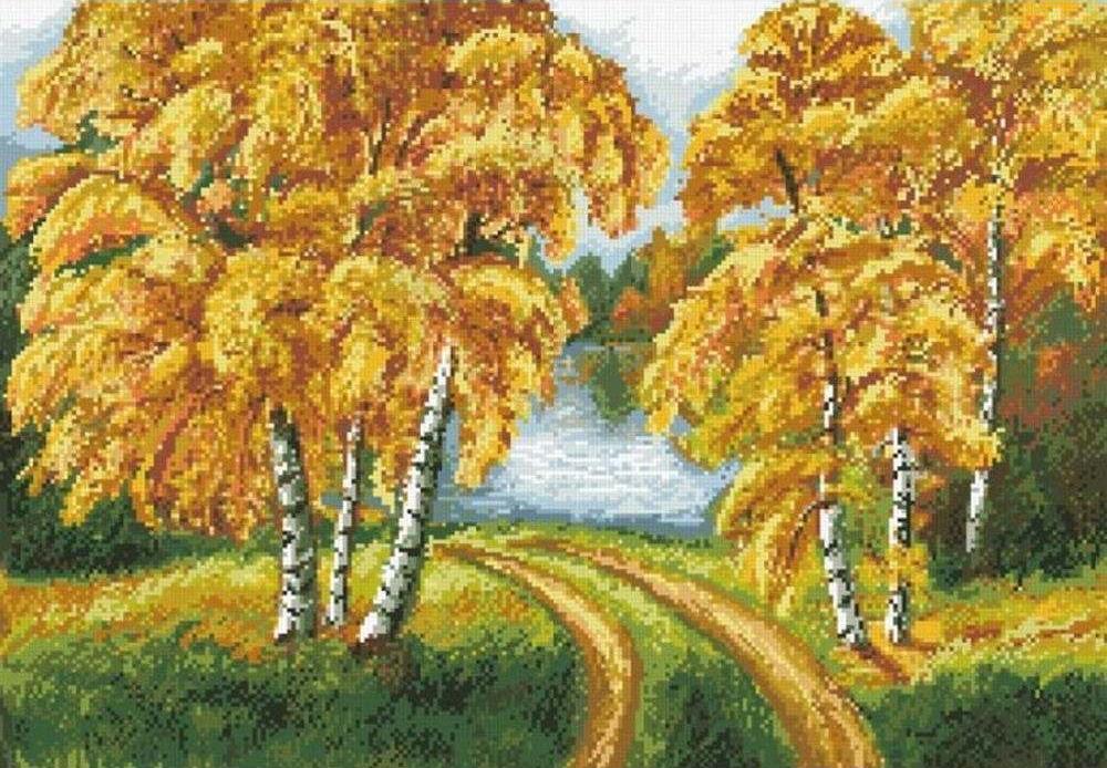 Алмазная вышивка «Осенний день»Алмазная вышивка Паутинка<br><br><br>Артикул: М-406<br>Основа: Холст без подрамника<br>Сложность: очень сложные<br>Размер: 42x60 см<br>Выкладка: Полная<br>Количество цветов: 25<br>Тип страз: Квадратные